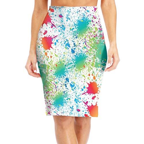 Women's Paint Splatter Colorful Bandage Pencil Skirt Party Skirt Above The Knee Maxi Skirt Versatile Midi Skirt Work Office Business Dress Tummy Control Beach Skirt