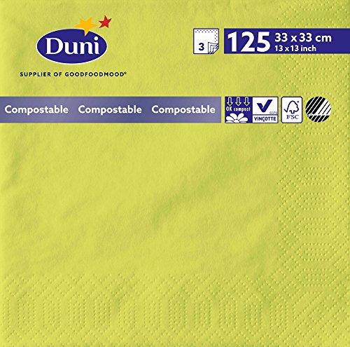 Duni 149114 3 plis Serviettes en papier, 33 cm x 33 cm, kiwi (lot de 1000)