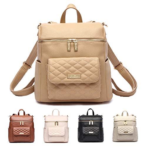 Petit Monaco Diaper Bag Backpack by Luli Bebe - Chic Vegan Leather Diaper Bag Backpack with Luxury Quilted Gender Neutral Design, Stroller Straps, Messenger Strap (Latte Brown)