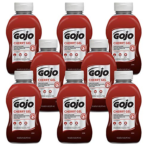 GOJO Cherry Gel Pumice Hand Cleaner, Cherry Fragrance, 10 fl oz Flip Cap Squeeze Bottle (Pack of 8) - 2354-08