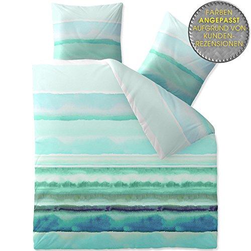 CelinaTex Fashion Davia linge de lit coton rayures turquoise blanc vert 200 x 200 cm