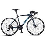 DJYD Adult Rennrad, Männer Rennrad mit Doppelscheibenbremse, High-Carbon Stahlrahmen-Straßen-Fahrrad, Stadt-Dienstprogramm Fahrrad, Blau, 21 Geschwindigkeit FDWFN (Color : Blue, Size : 27 Speed)