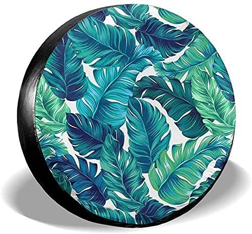 Cubierta de neumático de repuesto de hojas de palmera turquesa hawaiana,poliéster,universal,de 17 pulgadas,cubierta de neumático de repuesto para remolques,vehículos recreativos,SUV,ruedas de camione