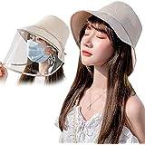 YODEW 飛沫、ほこり、黄砂対策防護帽 レインハット uvカット 帽子 ハット フェイスガード ウイルス対策 日除け帽子 透明バイザー フェイスガード 取り外可 男女兼用 (ベージュ)