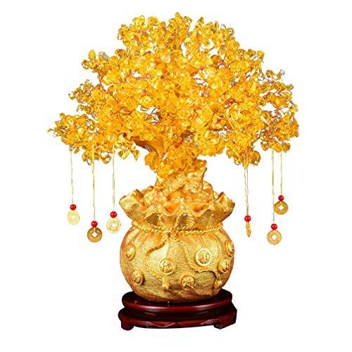 BESPORTBLE Feng Shui Chakra Crystal Money Tree Bonsai Árbol de La Fortuna Chino con Monedas de La Suerte para La Riqueza Decoración del Hogar Amarillo