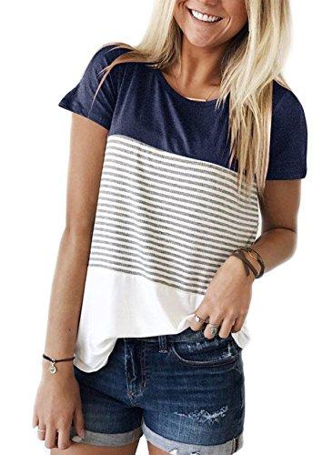 Yidarton Damen Sommer T-Shirt Casual Streifen Patchwork Kurzarm Oberteil Tops Bluse Shirt, Navy, XL