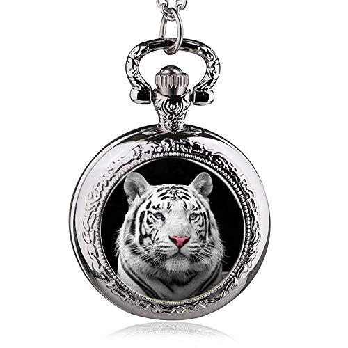 GJJSZ Taschenuhr Best New Quarz Taschenuhren White Tiger Pattern mit Fob Chain Männer Frauen