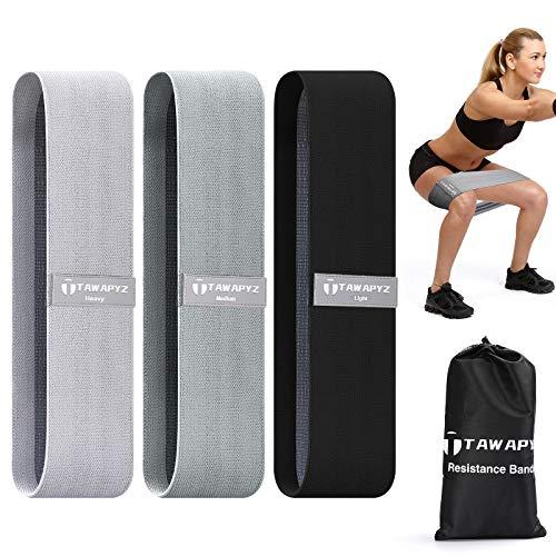 TAWAPYZ Bandas Elasticas Musculacion, [Set de 3] Bandas Elasticas Gluteos de Tela con 3 Niveles Antideslizantes Bandas de Resistencia Fitness para Gluteos Yoga Pilates Entrenamiento de Muscular