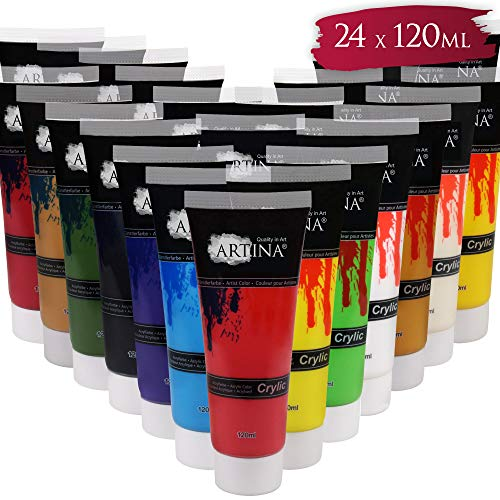 Artina Acrylfarben Set mit 24 Farbtönen, 120 ml Tuben