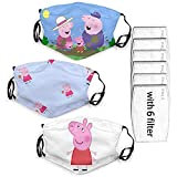 Pe-ppa Pi-g pink pig Children's cute cartoon mask with filter Outdoor mask reusable,gifts for boys and girls (Pep-pa P-ig)