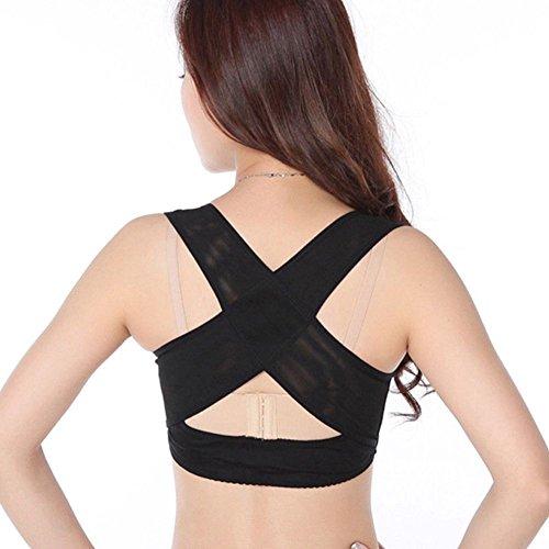 SODIAL Mesdames femmes reglable epaule dos Posture correcteur poitrine soutien bretelle ceinture-noir-M