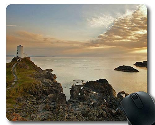 Gaming Mouse Pads,Lighthouse Sea Cliffs Water Away Road Stitched Edges Mouse pad