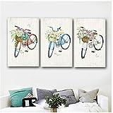 HSFFBHFBH Leinwand Poster Drucke Fahrrad Mit Blumen Kunst Leinwand Malerei Wandbilder Für Wohnzimmer Dekorative Malerei 40x60 cm (15,7'x23,6) x3 Kein Rahmen