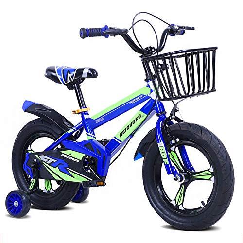 Biciclette per Bambini per Ragazze E Ragazzi dai 3 Anni 12 14 16 Pollici Bicicletta per Bici Senza Pedali per Bambini con Cestino, Freno A Mano E Ruote da Allenamento con Pedale Posteriore, Blu,12'