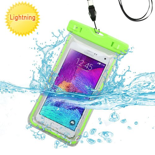 LG K7 Case, LG Tribute 5 Case, LG K7 Phone Case, LG Tribute 5 Phone Case by iViva Lightning Waterproof dirt proof snow proof for boating kayaking swimming hiking (Waterproof Neon Green)