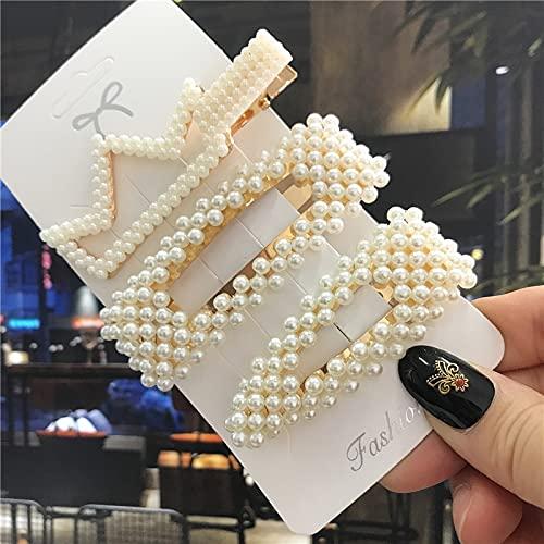 LANHUAN 1set Perras Hechas a Mano Pin de Pelo Pin para Mujer Moda Flor geométrica Varettes Chicas Cabello Dulce Accesorios (Color : S18-3pcs)