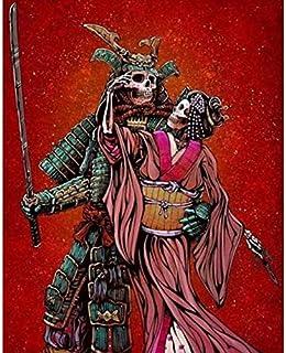 Samurai y Damas, 5D Diy Diamante Bordado Diamante Pintura Cráneo Punto de Cruz Decoración Hogar Regalo 50 * 70Cm