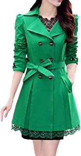 WOCACHI Womens Lace Hem Cardigan Trench Coat Double-Breasted Decor Coats Bowknot Sashes Outerwear Jacket