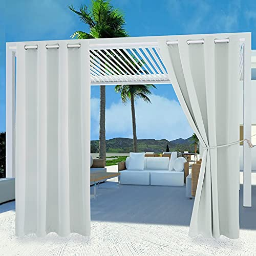 Outdoor Patio Curtain Waterproof Darkening Thermal Insulated Indoor Curtains for Bedroom, Porch, Living Room, Pergola, Cabana, W52 x L95, Grayish White, Set of 2 Panels