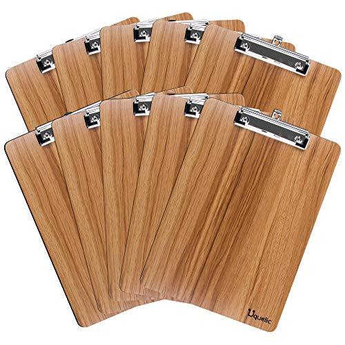 Uquelic 10Pcs Legno Portablocco Clipboard A4 Menu Board con Clip Robusta e Foro per Appendere