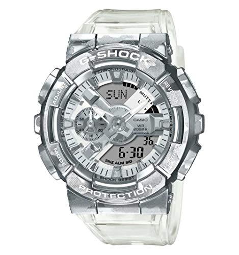 Reloj G-Shock Caballero Carcasa y Fondo en Acero y Correa Transparente Estampada Camuflaje