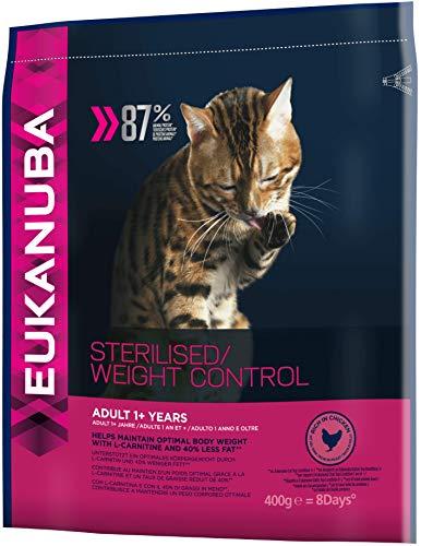 Eukanuba fettarmes Premium Katzenfutter für sterilisierte, kastrierte oder übergewichtige Katzen, Trockenfutter mit Huhn, 7er Pack (7 x 400 g)