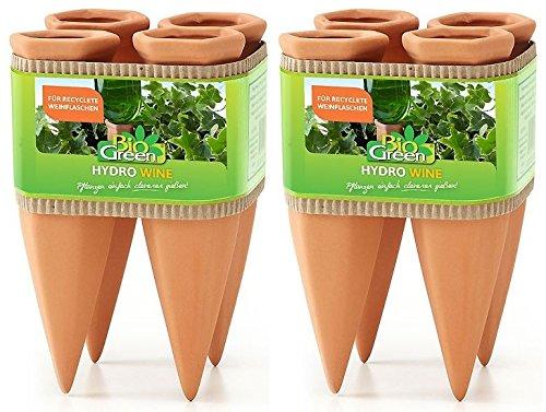 Bio Green Pflanzen Bewässerung Wine Tonkegel, Terracotta/grün - für Wein Flaschen, 2 x 4 Stück