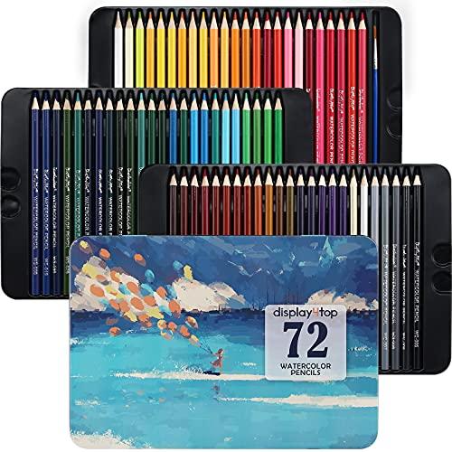 Display4top Professionelle Aquarellstifte, Aquarell Buntstifte Set für Künstler, Erwachsene und Kinder,Premium Künstlermine mit lebendigen Farben und schönen Mischeffekten mit Wasser (72)