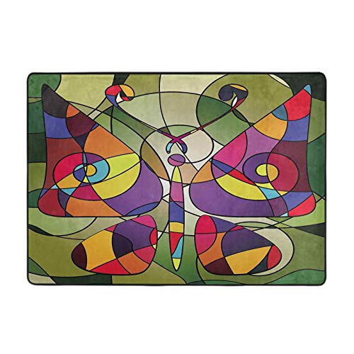 Modern Area Rug Multy Color Background Variation Abstract Image Butterfly consisting of Lines 5' x 6' Area Rug for Living Room Bedroom