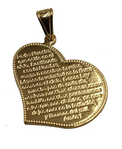 Padre Nuestro - Colgante con Forma de corazón de Diamante de Florida (Chapado en Oro de 18 Quilates, Cadena de 50,8 cm)