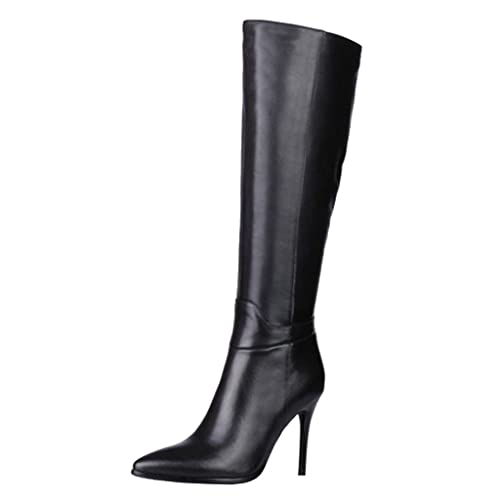 f8a4c279b3c Women's Black Leather Tall High Heel Boots: Amazon.com