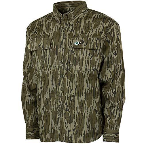 Mossy Oak Cotton Mill 2.0 Long Sleeve Camo Hunting Shirts for Men, XX-Large, Original Bottomland