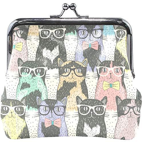 Schnalle Münze Geldbörsen Katzen mit Brille Muster Schloss Geldbörse Geldbörsen wechseln