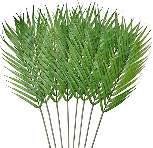 Kesio Paquete de 8 hojas de palma artificiales de imitación de hojas de palma, hojas de palmera tropicales, hojas de palmera para arreglos de bodas y decoraciones de fiesta de la selva