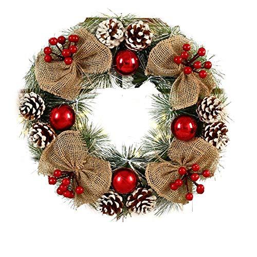 Bouder Weihnachtskranz mit roten Beerenkranz, Rattanananhänger, Weihnachtsdekoration, Kranz für Weihnachten, Innen- und Außenbereich