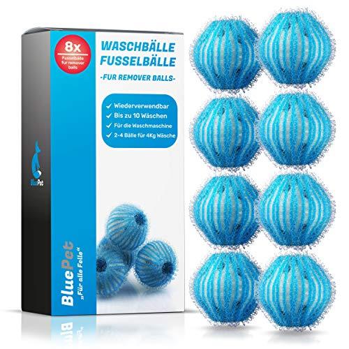 Bluepet® 8X Fusselbälle für die Waschmaschine, Entfernt Tierhaare, Fusseln & Flusen, Haarfänger für Wäschetrockner gegen Tierhaare