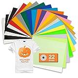 "TILON PU Heat Transfer Vinyl Bundle 22 Sheets 12""×10"" Iron on HTV for Halloween DIY Ideas, 19 Vibrant Assorted Colors Adhesive T-Shirt Vinyl for Cricut&Silhouette Cameo or Heat Press"