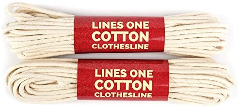 LinesOne Cotton Clothesline Rope 2x50 Ft 100 Ft 3 16 Inch Dia White cord for drying clothes product image