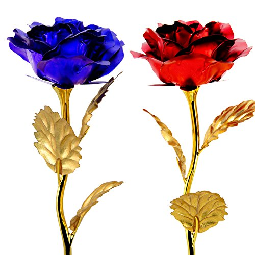 Unite Stone Monther Day Gift 24K Gold Foil Artificial Rose Flower Birthday Gift (red&Blue)