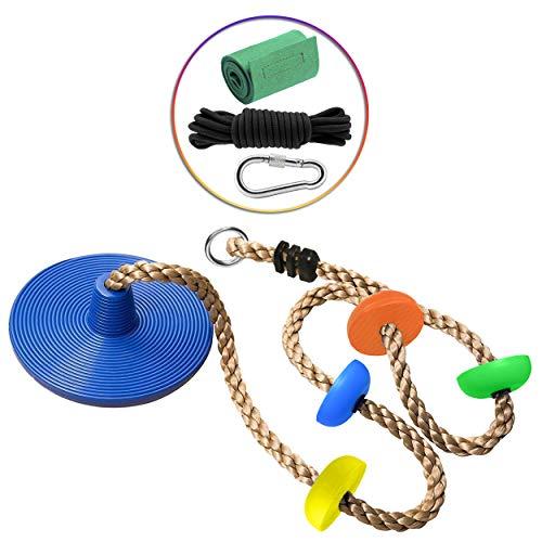 Cateam Disc Swing Kletterseil für Kinder und Erwachsene - Tree Disc Swing Seat für einen Gartenspielplatz im Freien oder eine Ninja-Leine mit Aufhängeband