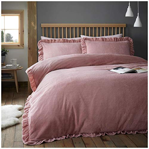 Gaveno Cavailia Super Soft Teddy Oco Ruffle Bedding, Fluffy Fleece Duvet Cover, Cosy Frilled Quilt Set Pillowcase, Blush-Pink, Double Size