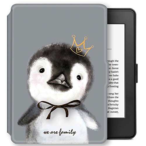 Young me martShell Case for Kindle with Hand Strap - The Thinnest and Lightest Leather Cover Auto Sleep/Wake for All-New Kindle (8th Gen 2016 Release, Does not fit Kindle Paperwhite) (Penguin)