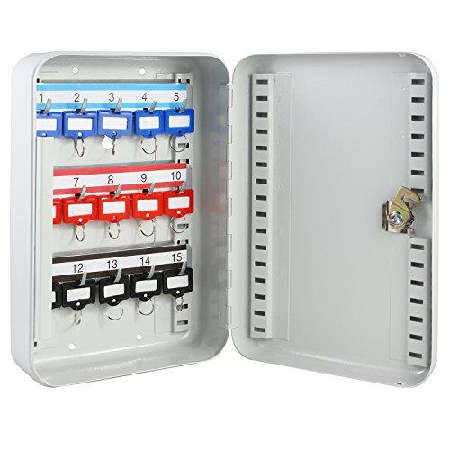HMF 12515-07 Schlüsselkasten 15 Haken verstellbare Hakenleisten, 25,0 x 17,0 x 7,5 cm, lichtgrau