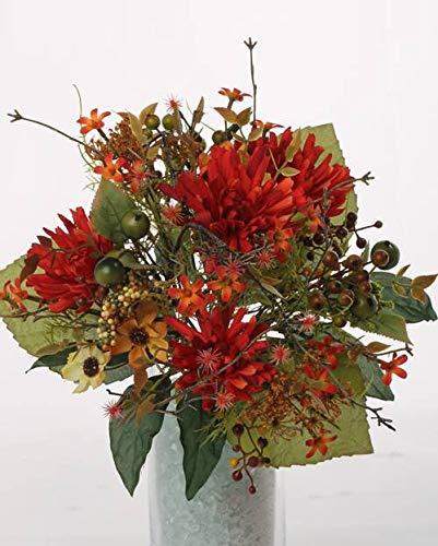 artplants.de Künstlicher Herbststrauß WERA, Chrysanthemen, Beeren, orange - rot, Ø 20cm - Erntedank Deko - Kunstblumen Strauß