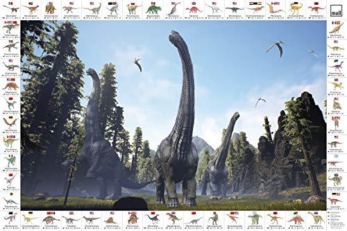 moll Schreibunterlage Kinderschreibtisch Erweiterung, Kunststoff, Dino gemischt, 42cm x 59cm x 0,3cm