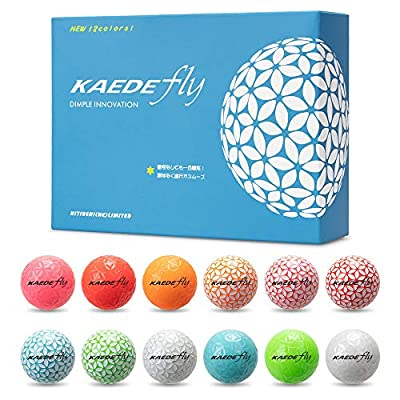 KAEDE Fly Golf 2-Piece Mixed Colored Distance Golf Balls 12 Colors (One Dozen)