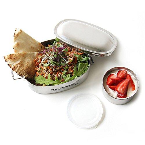 ECOlunchbox Oval, 2-teilige Brotdose aus Edelstahl mit separater, auslaufsicherer Runddose | Lunchbox...