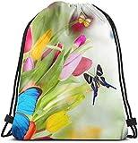 Elsaone Bolso con cordón de Flores y Mariposas para Bolsos de Gimnasia para niños y niñas 36 x 43 cm / 14 x 17 Pulgadas