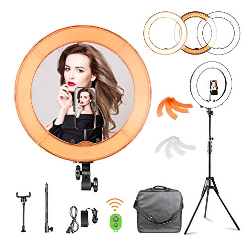 FUDESY 18 inch Ring Light Kit with Tripod Stand55W LED Dimmable Photography Ringlight Lightingfor Live Streaming Video Shooting YouTube Zoom Selfie Game with Phone Holder/Remote Shutter/Carrying Bag