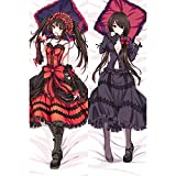 Date A Live: Tokisaki Kurumi/Nightmare 1516 Anime Pillow Cover/Body Pillowcase, Anime Pretty Girl Double-Sided Pattern Peach Skin/2WT Throw Pillow Case, Cushion Covers
